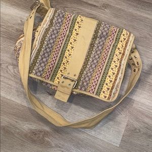 VINTAGE Fossil Floral Canvas Messenger Bag